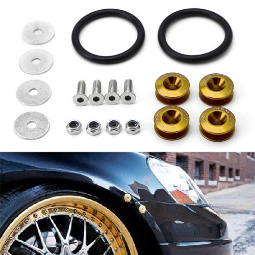 (iJDMTOY Universal Fit Gold Finish JDM Quick Release Fastener Kit For Car Bumper Trunk Fender Hatch)