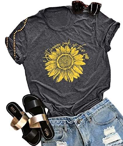 (Womens I Just Wanna Soak Up The Sun Letter t Shirts Sunflower Graphic Funny Graphic Tees (X-Large, Dark Gray))