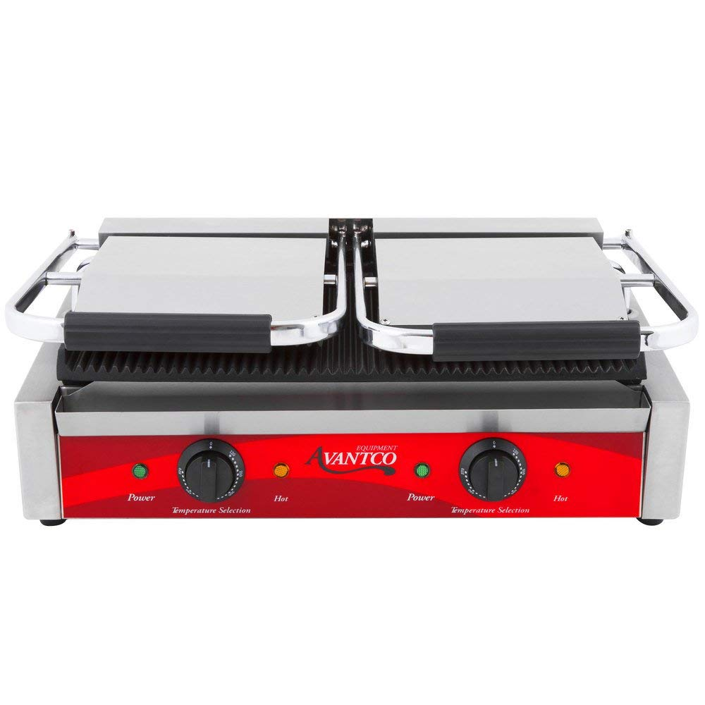 "Avantco P84 Double Commercial Panini Sandwich Grill with Grooved Plates - 18 3/16"" x 9 1/16"" Cooking Surface - 120V, 3500W 51cJXN3fZrL._SL1000_"
