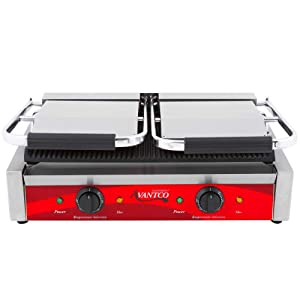 "Avantco P84 Double Commercial Panini Sandwich Grill with Grooved Plates - 18 3/16"" x 9 1/16"" Cooking Surface - 120V, 3500W"