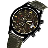YISUYA Date Army Green Chronograph Military Quartz Waterpoof Nylon Band Mens Sport Wristwatches