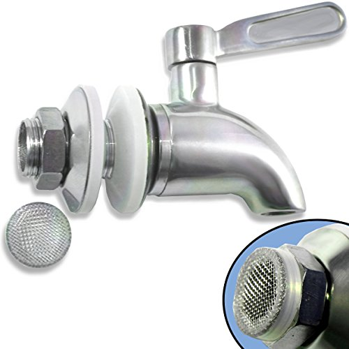 Beverage Dispenser Replacement Spigot with Screen Filter - Stainless Steel - Ice Tea, Kombucha, Lemonade - Also works with Ceramic Porcelain Crock and Berkey-type Water Filtration Systems ()