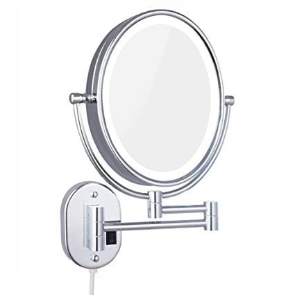 Ordinaire DOWRY Lighted Magnifying Mirror Wall Mounted Oval,Double Side 1X U0026 7X  Adjustable Makeup Mirror
