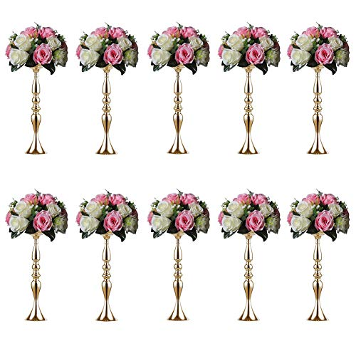 Sziqiqi 10 Pieces 50 Height Metal Candle Holder Candle Stand Wedding Centerpiece Event Road Lead Flower Rack (10Pcs/Set, 50cm, Gold)]()
