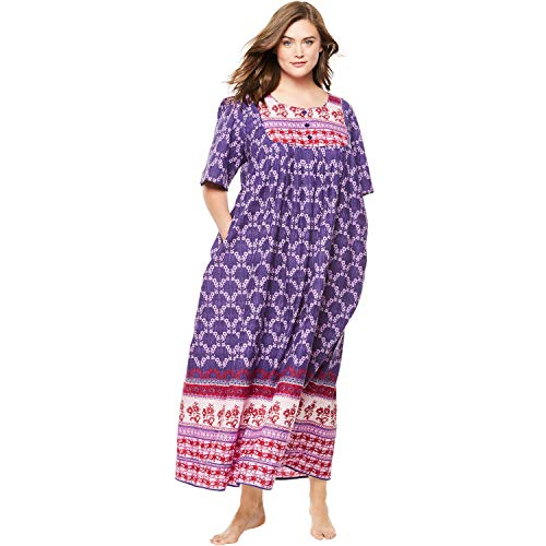 (Only Necessities Women's Plus Size Mixed Print Long Lounger - Pomegranate Flower Stripe, M)