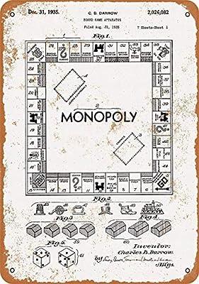 Cartel de Metal de Monopoly Game Patent, diseño Vintage, con Texto en inglés Warning Notice: Amazon.es: Bricolaje y herramientas