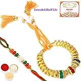 Ghasitaram Gifts Rakhis online USA - Gold Fantasy Bangle Bhaiya Bhabhi Rakhi with 200 gms of Kaju katli