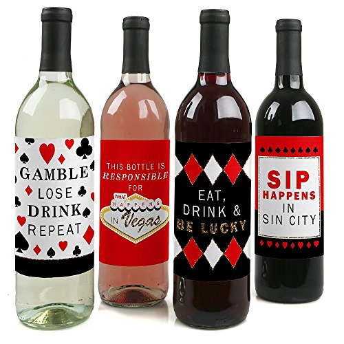 Las Vegas - Casino Decorations for Women and Men - Wine Bottle Label Stickers - Set of 4]()