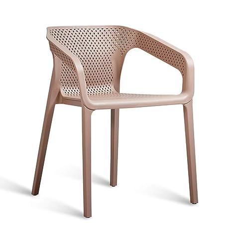 Amazon.com: Silla de comedor de plástico con brazo, silla ...