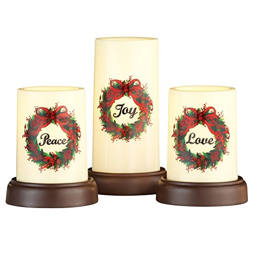 Holiday Wreath Flameless Pillar Candles - Set of 3