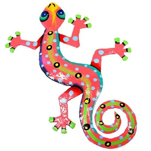 Recycled Metal Gecko Wall Plaque (Pink)