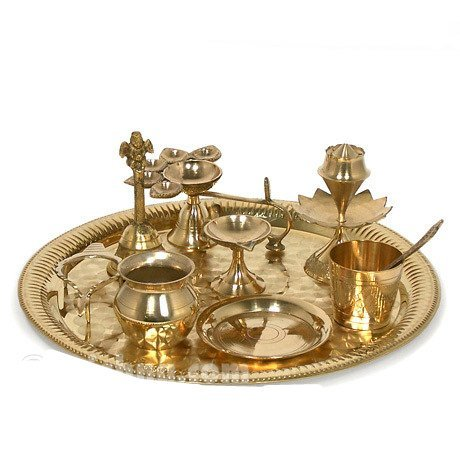 Large 18'' Brass Aarti Tray For Hindu Puja