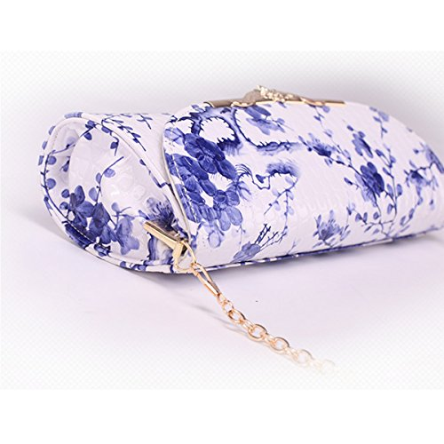 Pattern Clutch Dooppa Bag Blue Handbag Shoulder Bag Purse Ladies Flower PU Crossbody Leather Flower wFZBI