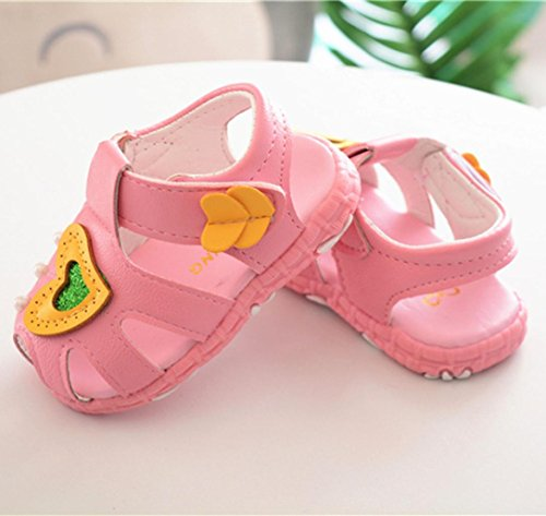 Jamicy® Baby Sandalen, Baby Mädchen Herz Design Sommer Leder Anti-Rutsch-Casual Sandalen Schuhe Rosa