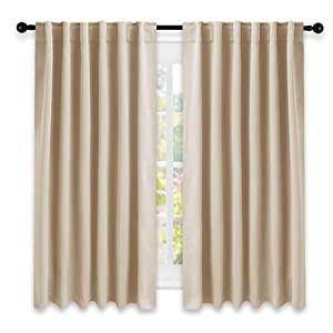 NICETOWN Window Treatment Curtains Room Darkening Drapes - (Biscotti Beige Color) 52 Width X 63 Drop Each Panel, 2 Panels Set, Curtains and Draperies for Kitchen