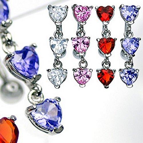 Piercing nombril cœur CZ - en acier chirurgical 316L - Couleur: Rose