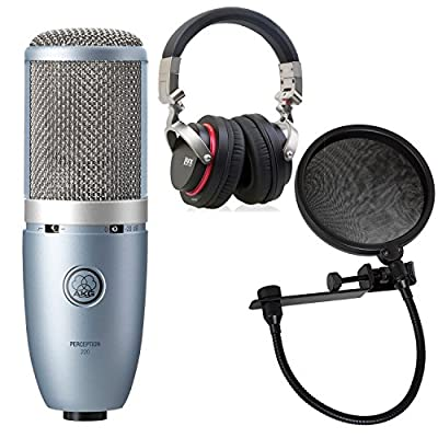 AKG Perception 220 Professional Studio Microphone with LyxPro Studio Headphones and LyxPro MOP-8 Pop Filter