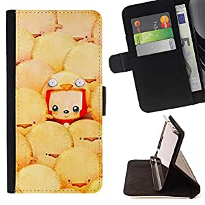 - Funny Cartoon Bird Character Easter - Estilo PU billetera de cuero del soporte del tir???¡¯????n [solapa de cierre] Cubierta- For LG Nexus 5 D820 D821 £¨ Devil Case £©