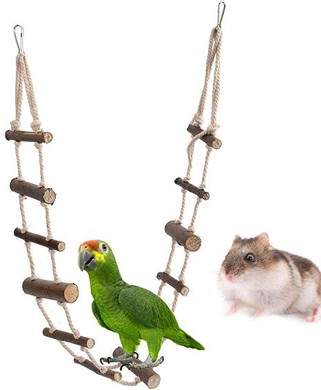 Sheens Escalera de Escalada de hámster para Mascotas, Parrot Nature Escaleras de Escalada largas de Madera Ardilla Puente Colgante de Cuerda para ...