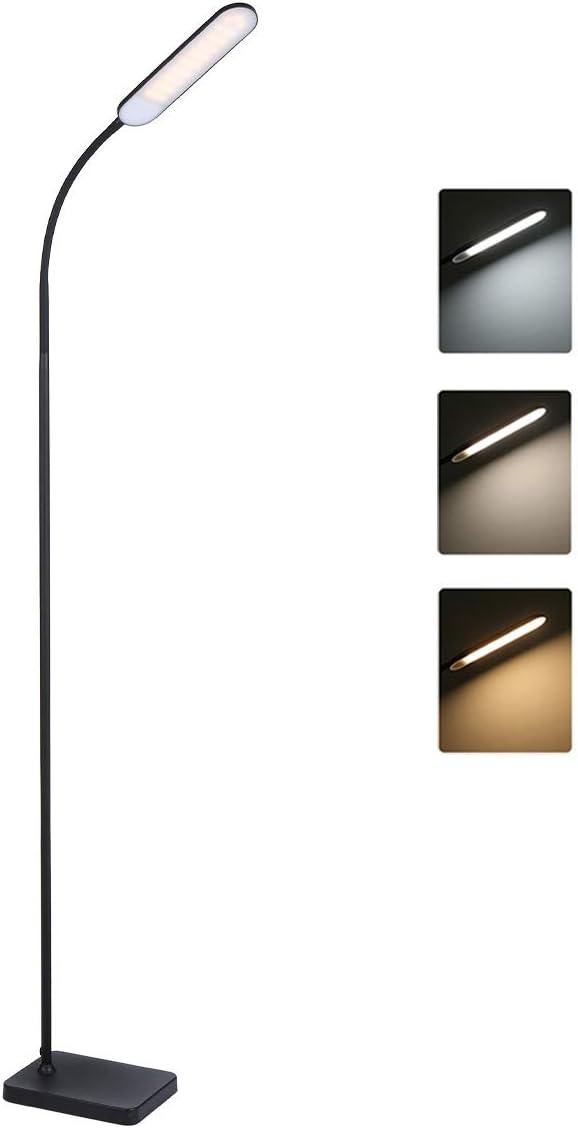 Lámpara de pie, Tomshine luz de piso LED, Control Táctil, 3 temperaturas de colo Altos lúmenes, vida útil larga Luz de lectura de pie de Regulable para el dormitorio de la sala de esta