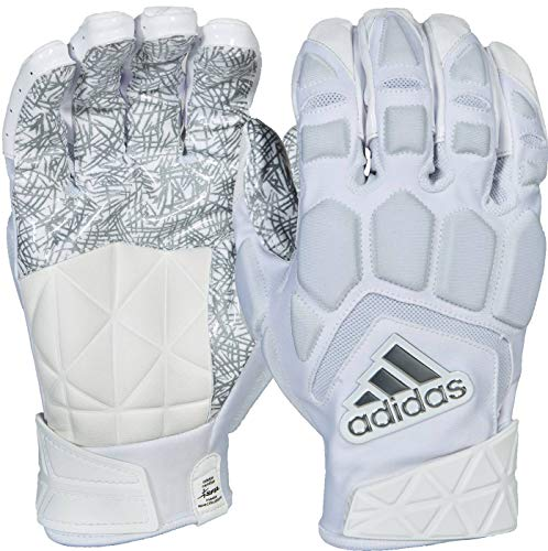 (adidas Freak Max Padded Lineman Gloves, White/White, X-Large)
