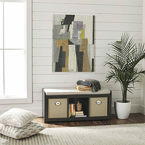 Better Homes and Gardens* 3-Cube Storage Bench – Espresso Finish with Comfortable Seat Cushion Free 2 Pack Storage Bins