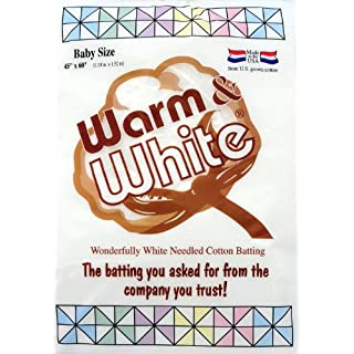 Warm Company 45-Inch by 60-Inch Warm and White Cotton Batting, Crib Size