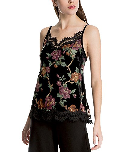 Max Studio London Floral-Print Lace-Trim Camisole (Rose, (Nylon Print Camisole)