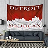Anhuthree Detroit Customed Widened Tapestry Michigan City Silhouette Red and White Composition with Classical Typography Wall Hanging Tapestry 90''x60'' Red and White