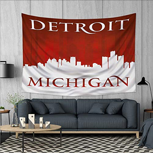 Anhuthree Detroit Customed Widened Tapestry Michigan City Silhouette Red and White Composition with Classical Typography Wall Hanging Tapestry 90''x60'' Red and White by Anhuthree