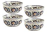 Polish Pottery Orange Blossoms Handmade Cereal Bowls, Set of 4