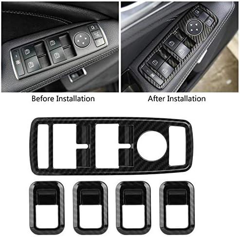 Acouto 4Pcs Window Switch Button Cover Trim,Carbon Fiber Style Car Window Lift Switch Button Cover Trim Fit for Mercedes Benz C Class W205 GLC Class X253