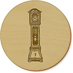 6 x 'Grandfather Clock' 95mm Round Wooden Coasters (CR00021190)