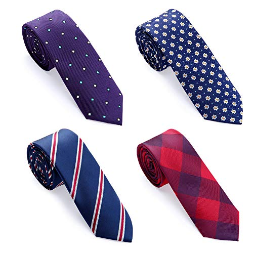 (AUSKY Elegant Business Skinny Necktie Mens Ties Textured Mixed set 4 Packs (4 PACKS D))