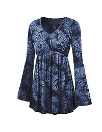 kingf Womens Tunic Blouse V-Neck Tie-Dye Long Sleeve Tops Pleated Waist Line Shirt