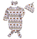Younger Tree 3Pcs Newborn Baby Boys Girls Gown Sleepwear Thanksgiving Turkey Print Long Sleeve Sleeping Bags (White, 0-6 Months)