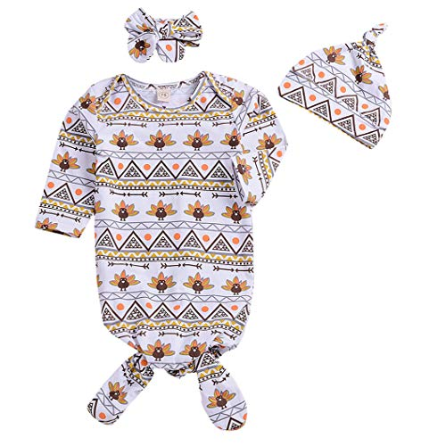 Younger Tree 3Pcs Newborn Baby Boys Girls Gown Sleepwear Thanksgiving Turkey Print Long Sleeve Sleeping Bags (White, 0-6 Months) by Younger Tree