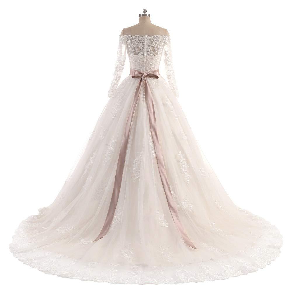 9c640989376 Amazon.com  Gorgeous Off Shoulder Lace Bridal Dresses Long Sleeve Wedding  Reception Dress Ball Gown  Handmade
