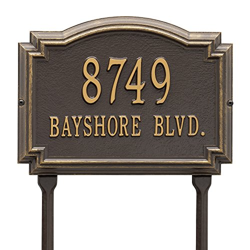 Williamsburg Two-Line Address Marker Sign for Lawn by Whitehall