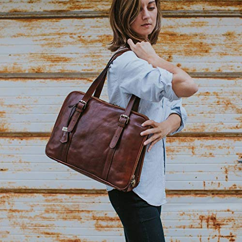 Floto Salerno kvinnors läder affärer axelväska portfölj messengerväska
