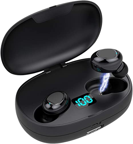 Bluetooth Kopfh/örer Kabellose 5.0 Kopfh/örer Noise Cancelling Sportkopfh/örer mit【650Mah Schnell Ladekoffer】 Wasserdichter HD-Stereo-Kopfh/örer mit integriertem Mikrofon,f/ür iPhone//Android