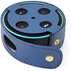 TNP Protective Case for Amazon Echo Dot (Fits all-new Echo Dot 2nd Generation Only) - Premium Vegan Leather Cover Sleeve Skin (Dark Blue)