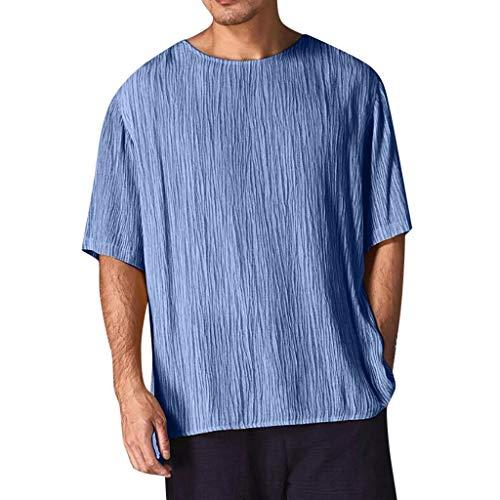 YKARITIANNA 2019 New Fashion Men's Casual Blouse Linen T-Shirt Loose O-Neck Tops Short Sleeve Tee Shirt