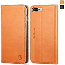 SHIELDON Genuine Leather iPhone 8 Plus Wallet Case Book Design Carry-all Credit Card Holder Magnetic Cover with Kickstand for iPhone 8 Plus/iPhone 7 Plus - Brown