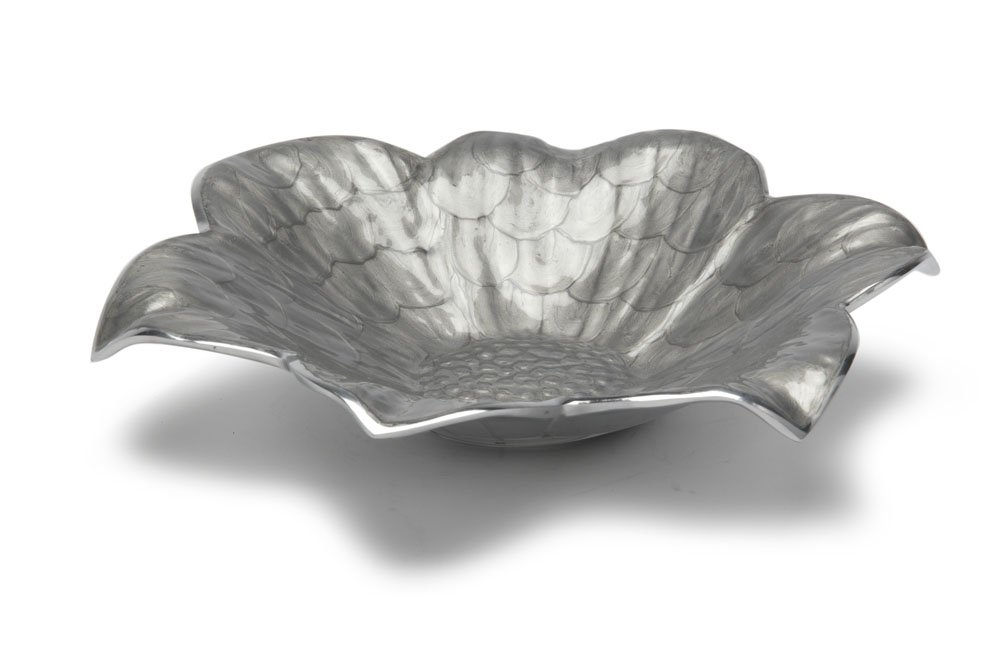 Julia Knight Lily Shallow Bowl, 12-Inch, Platinum, Silver