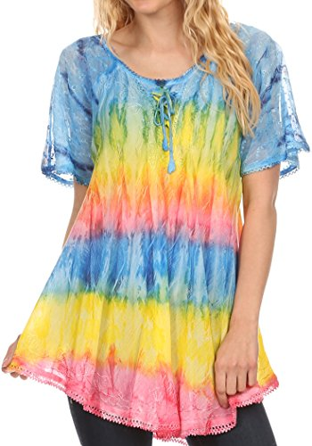 Sakkas 16786 - Monet Long Tall Tie Dye Ombre Embroidered Cap Sleeve Blouse Shirt Top,Turquoise / Yellow,One Size Regular