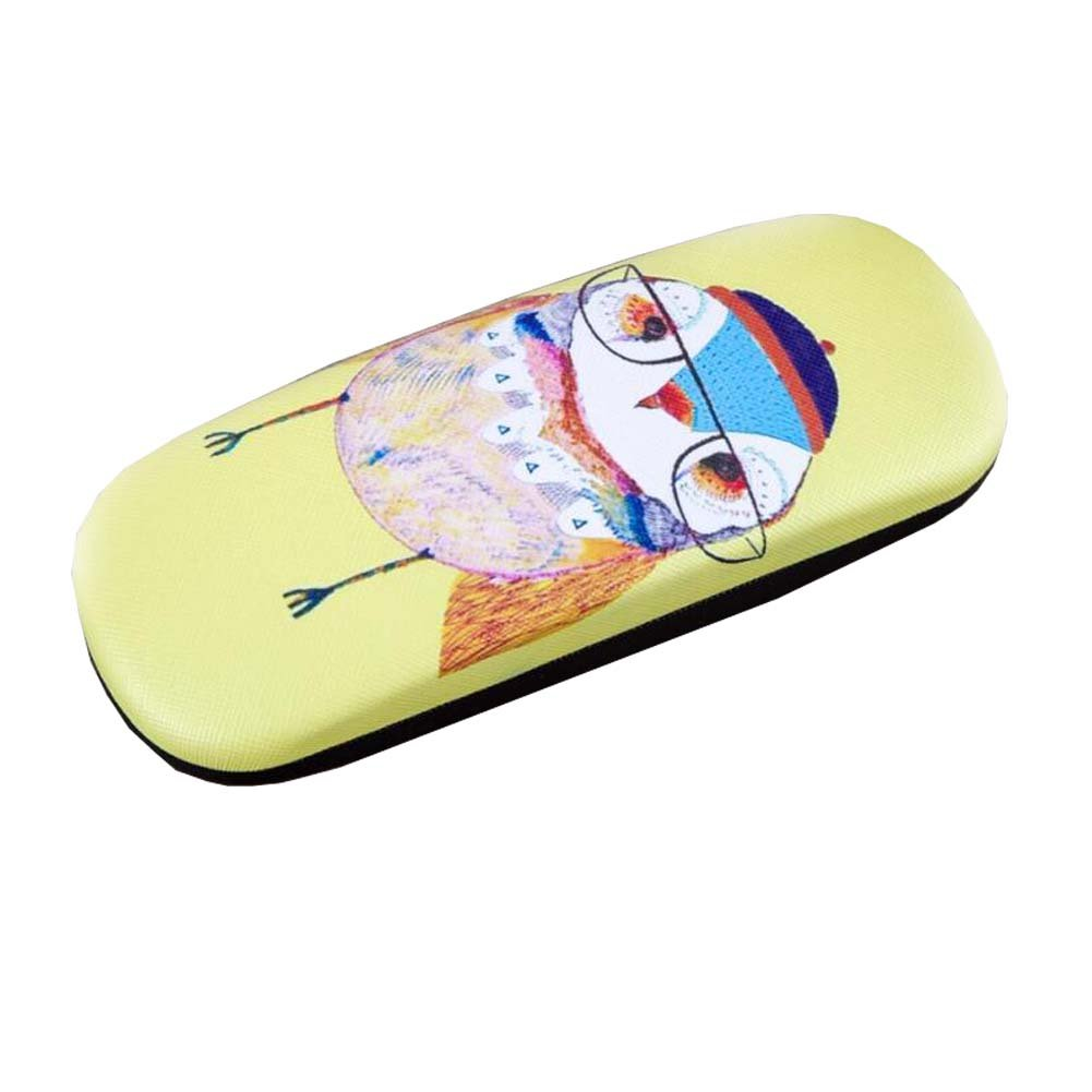 Owl Pattern Hard Glasses Clam Shell Style Glasses Case