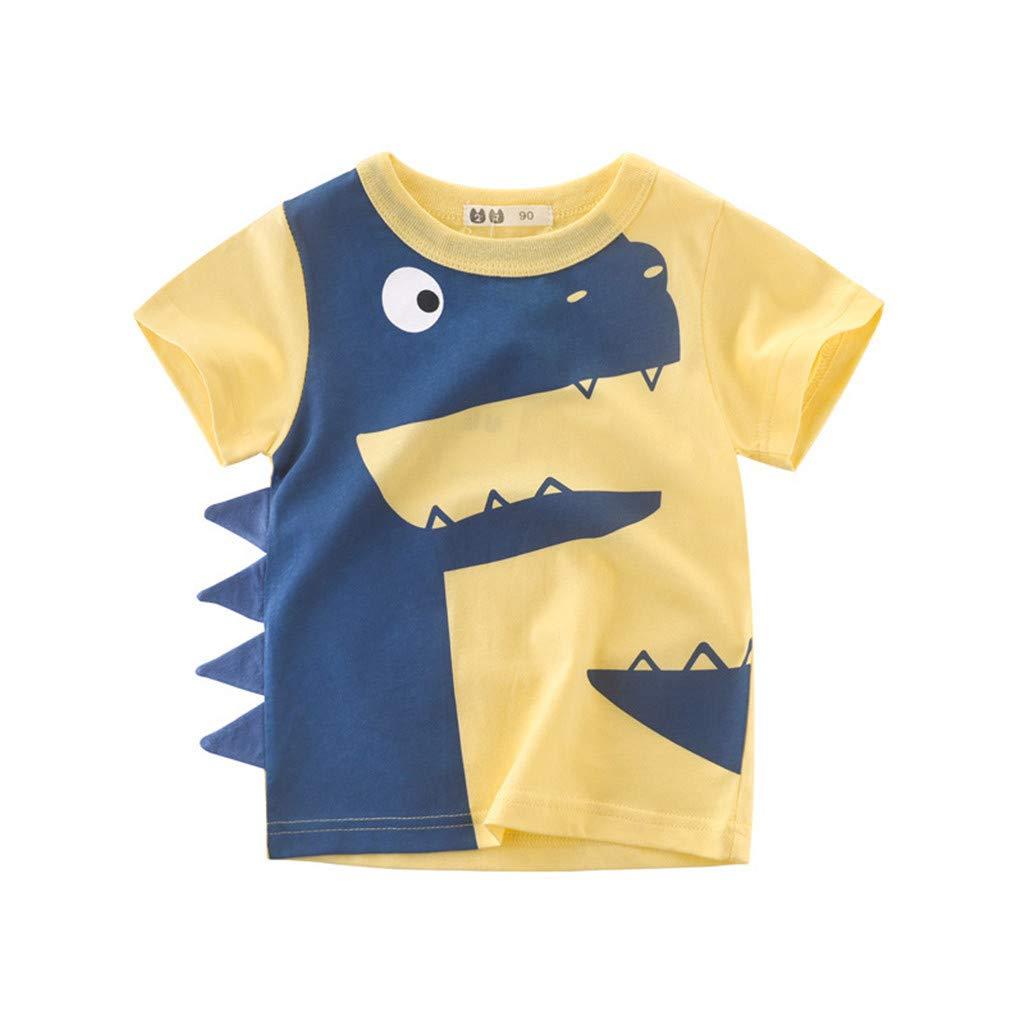 Jchen Little Boys Cartoon Print Tops, Summer Kids Baby Boys Short Sleeve Cartoon Dinosaur Print Tee Tops T-Shirt for 1-6 Yrs (Age:4-5 Years Old, Yellow)