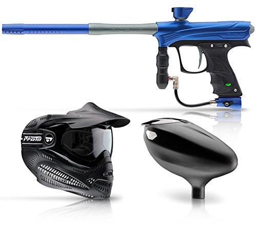 DYE Rize, Proto EL Goggle, and Primo Loader Paintball Combo - Blue/Grey