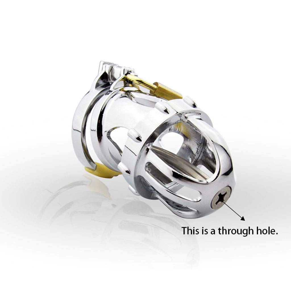 Xxq Titanium Alloy Plated Environmental Chromium Chastity Lock Metal Stainless Steel Chastity Device for Men (Size : M 43mm) by Xxq